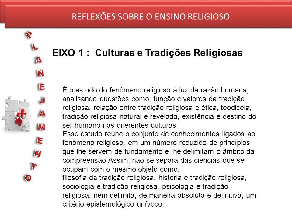 EIXO 1 : Culturas e Tradições Religiosas REFLEXÕES SOBRE O ENSINO RELIGIOSO É o estudo do fenômeno religioso à luz da razão humana, analisando questõe