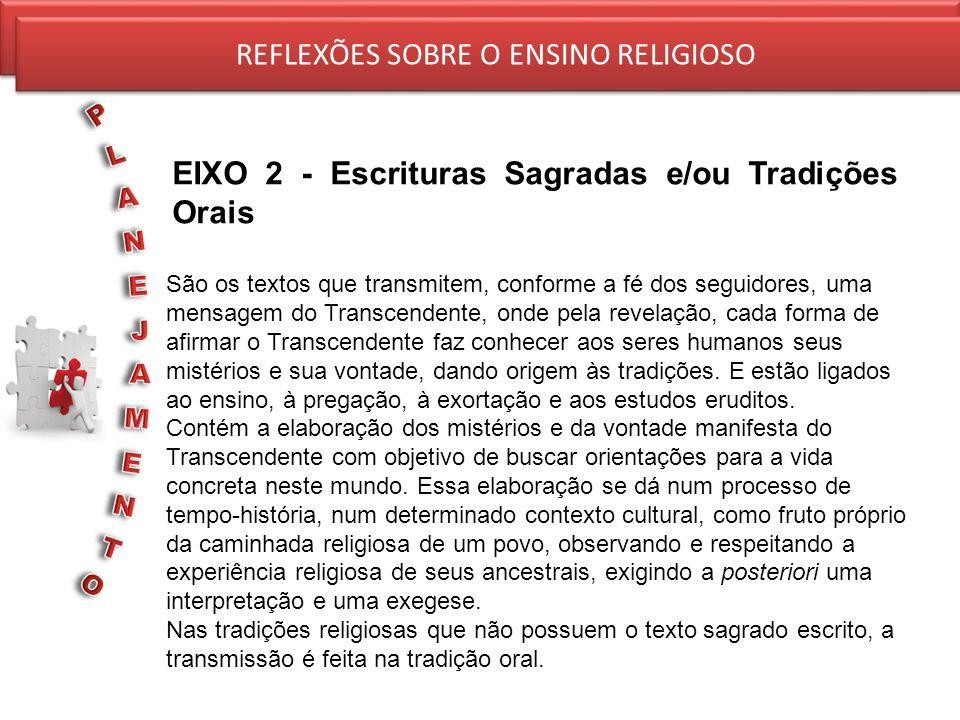 REFLEXÕES SOBRE O ENSINO RELIGIOSO EIXO 2 - Escrituras Sagradas e/ou Tradições Orais REFLEXÕES SOBRE O ENSINO RELIGIOSO São os textos que transmitem,