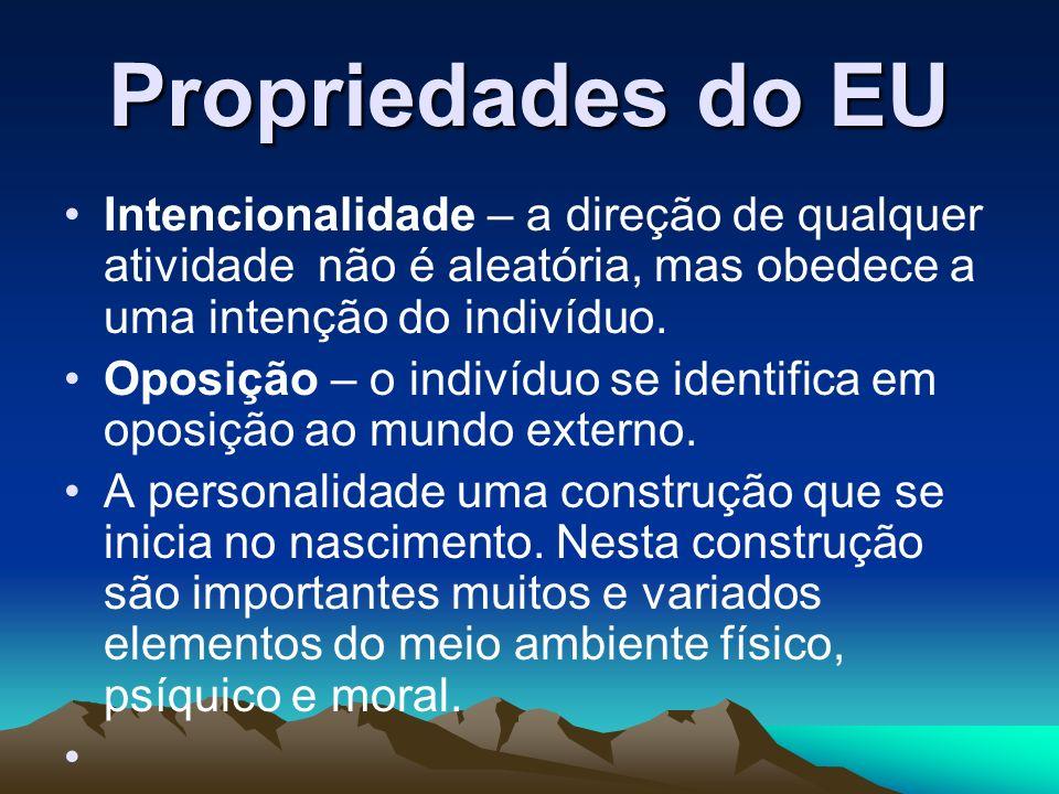 Propriedades do EU Intencionalidade – a direção de qualquer atividade não é aleatória, mas obedece a uma intenção do indivíduo. Oposição – o indivíduo