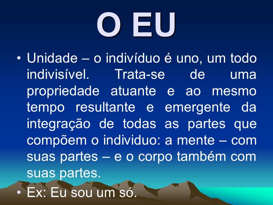 O EU Unidade – o indivíduo é uno, um todo indivisível. Trata-se de uma propriedade atuante e ao mesmo tempo resultante e emergente da integração de to