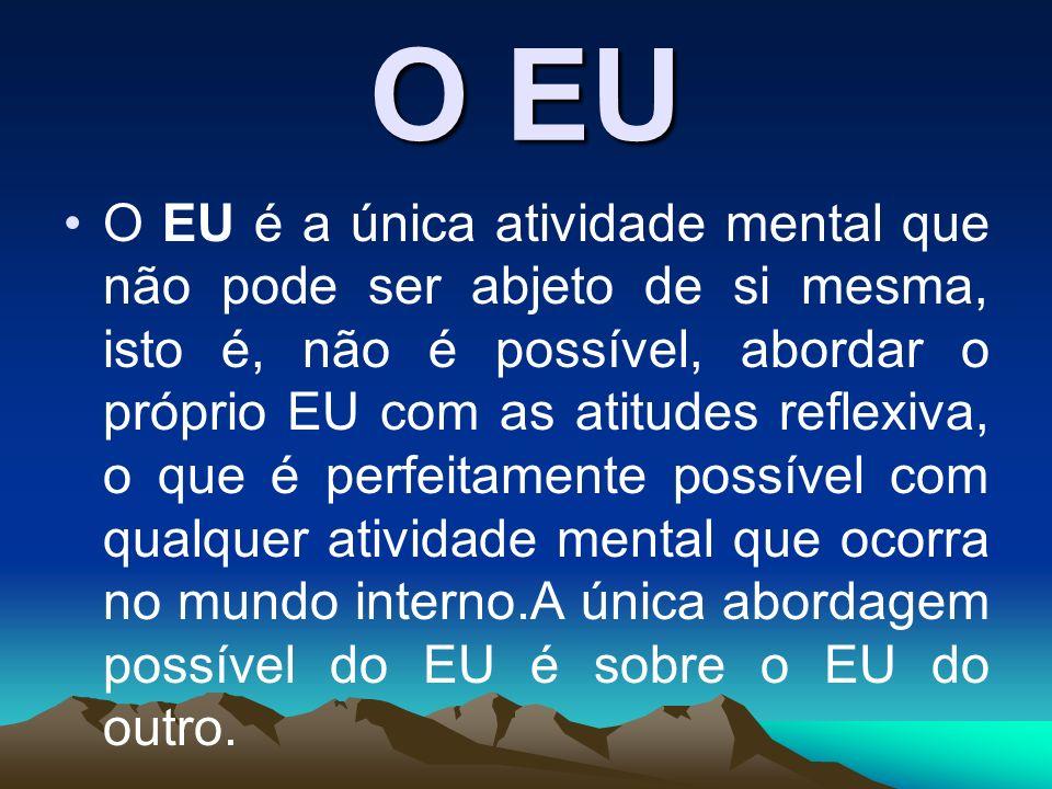 O EU O EU é a única atividade mental que não pode ser abjeto de si mesma, isto é, não é possível, abordar o próprio EU com as atitudes reflexiva, o qu
