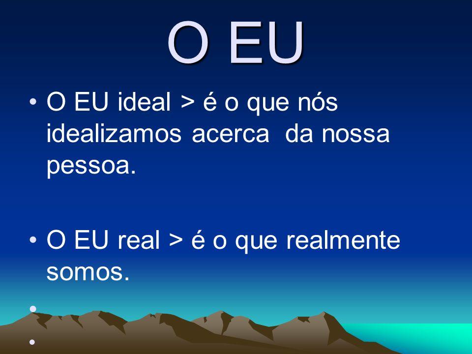 O EU O EU ideal > é o que nós idealizamos acerca da nossa pessoa. O EU real > é o que realmente somos.