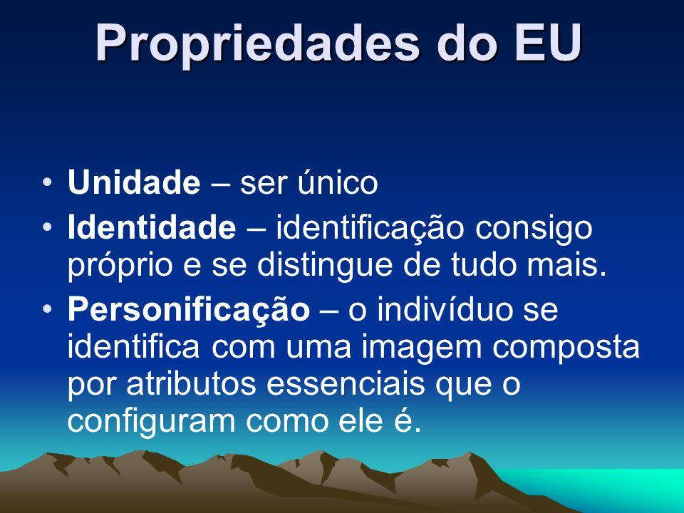 Propriedades do EU Unidade – ser único Identidade – identificação consigo próprio e se distingue de tudo mais. Personificação – o indivíduo se identif