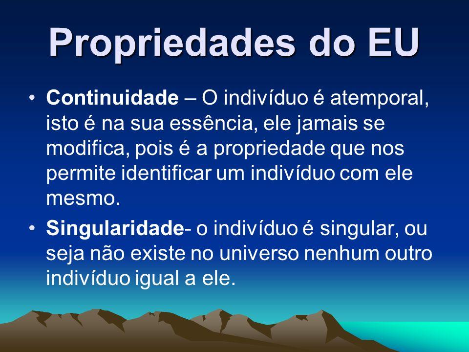 Propriedades do EU Continuidade – O indivíduo é atemporal, isto é na sua essência, ele jamais se modifica, pois é a propriedade que nos permite identi