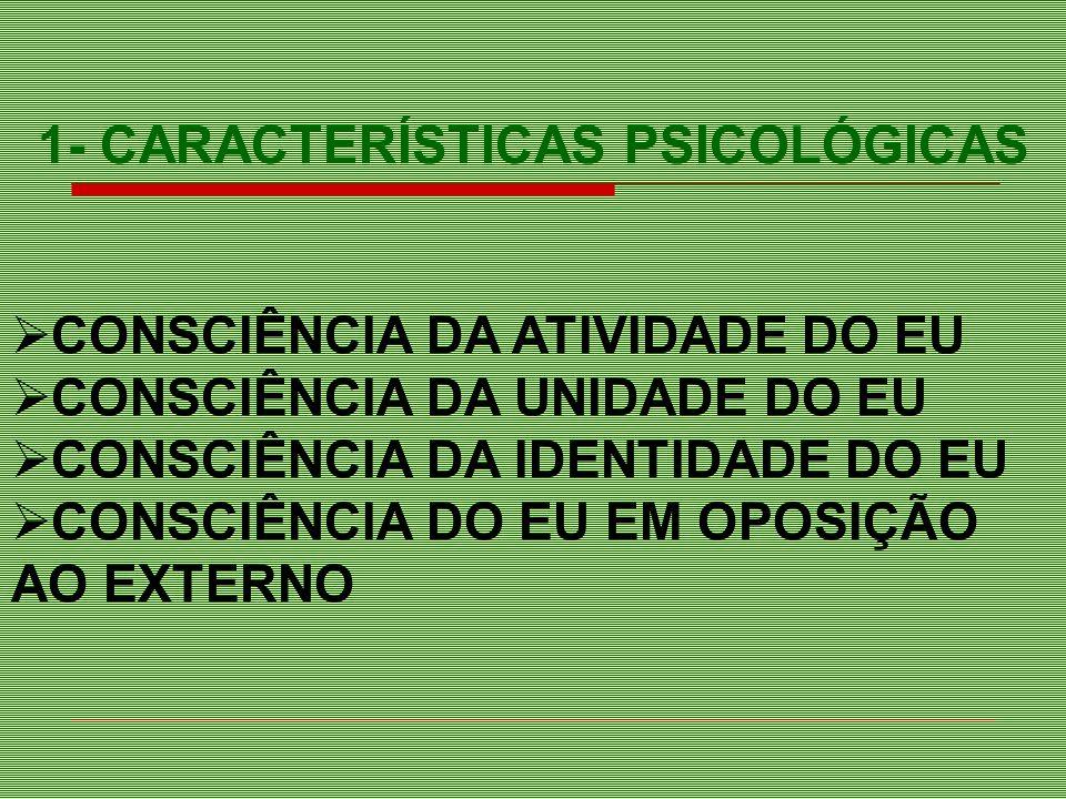 PERSONALIZAÇÃO/DESPERSONALIZAÇÃO ALTERAÇÃO DA CONSCIÊNCIA DO EXISTIR ALTERAÇÃO DA CONSC.