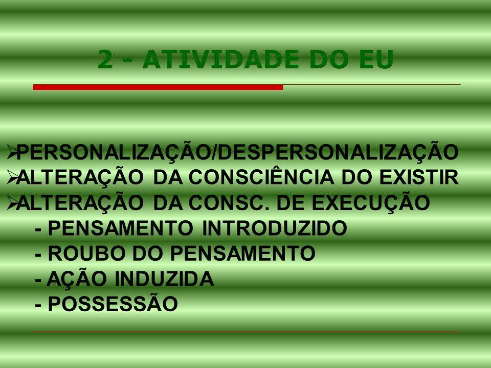 PERSONALIZAÇÃO/DESPERSONALIZAÇÃO ALTERAÇÃO DA CONSCIÊNCIA DO EXISTIR ALTERAÇÃO DA CONSC. DE EXECUÇÃO - PENSAMENTO INTRODUZIDO - ROUBO DO PENSAMENTO -