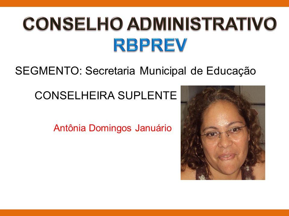 SEGMENTO: Secretaria Municipal de Educação CONSELHEIRA SUPLENTE Antônia Domingos Januário