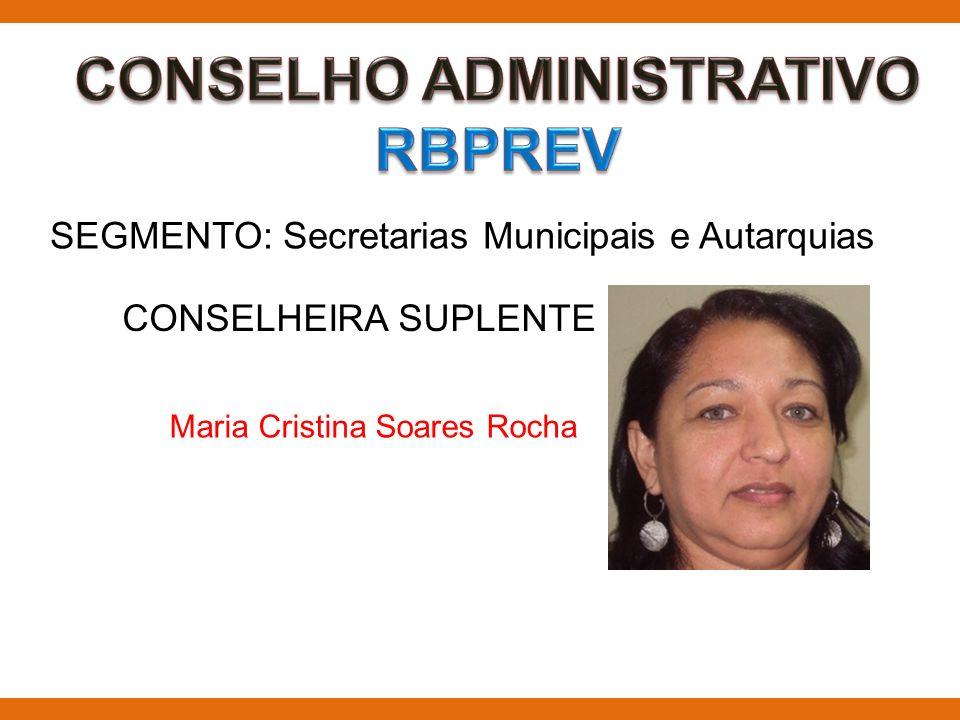 SEGMENTO: Secretarias Municipais e Autarquias CONSELHEIRA SUPLENTE Maria Cristina Soares Rocha