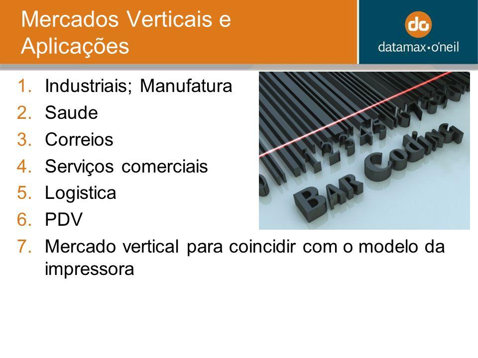 Mercados Verticais e Aplicações 1.Industriais; Manufatura 2.Saude 3.Correios 4.Serviços comerciais 5.Logistica 6.PDV 7.Mercado vertical para coincidir com o modelo da impressora
