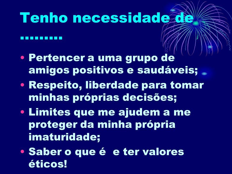 Tenho necessidade de......... Pertencer a uma grupo de amigos positivos e saudáveis; Respeito, liberdade para tomar minhas próprias decisões; Limites