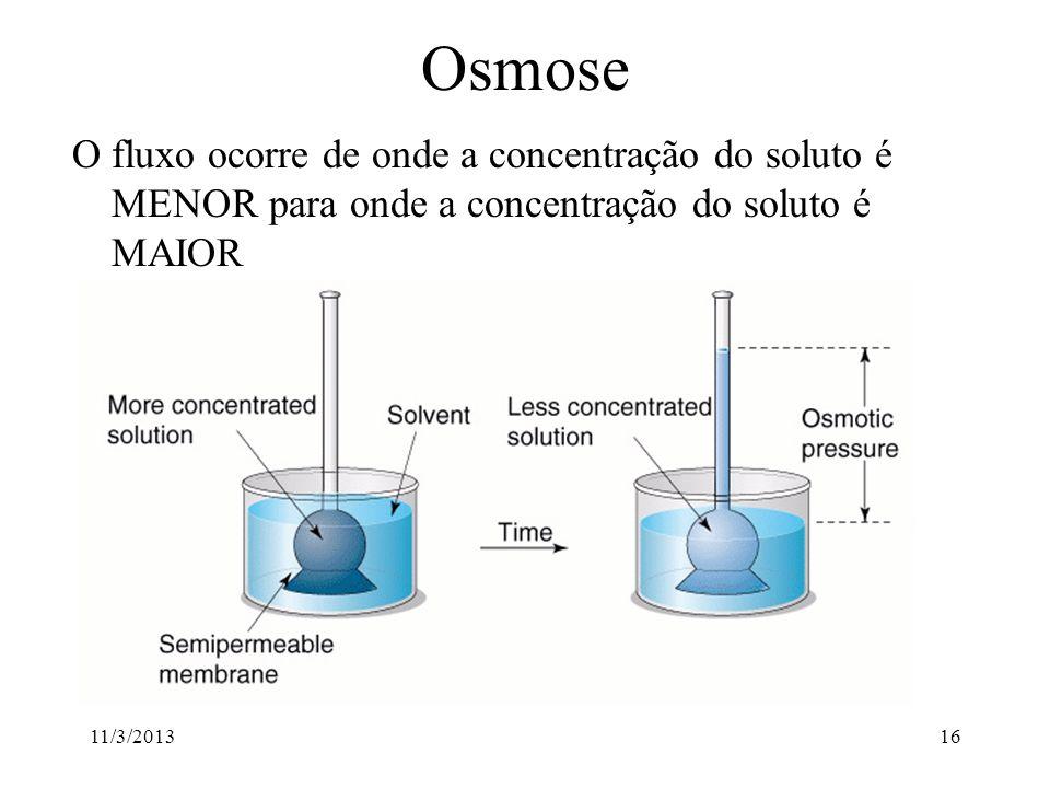 11/3/201315 Osmose Osmose é definido como o fluxo de água através de uma membrana semipermeável Membrana semipermeável: membrana permeável ao solvente
