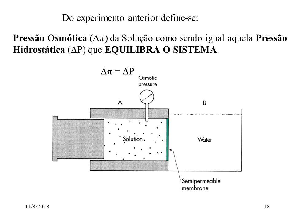 11/3/201317 Osmose A osmose ocorre porquê o soluto diminui o potencial químico da água A água então tende a fluir de onde o potencial químico é maior