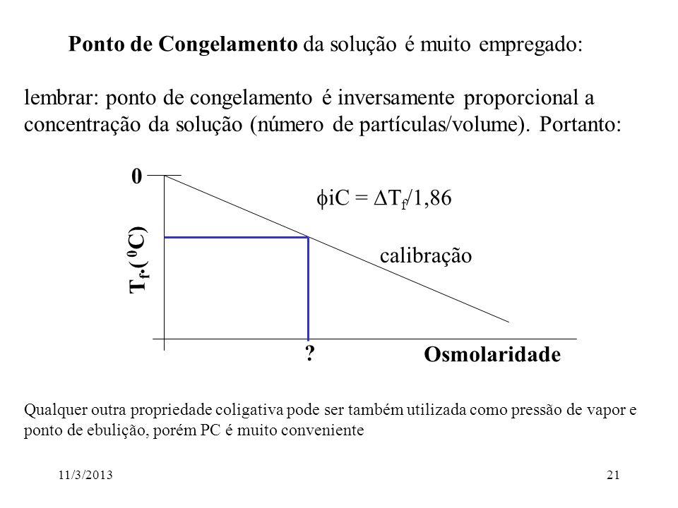 11/3/201320 O CONCEITO DE OSMOLARIDADE - Por Definição: solução 1 Osmolar 1 Osmol/l Número de Avogadro de partículas/litro exemplos: Solução 1 Molar d