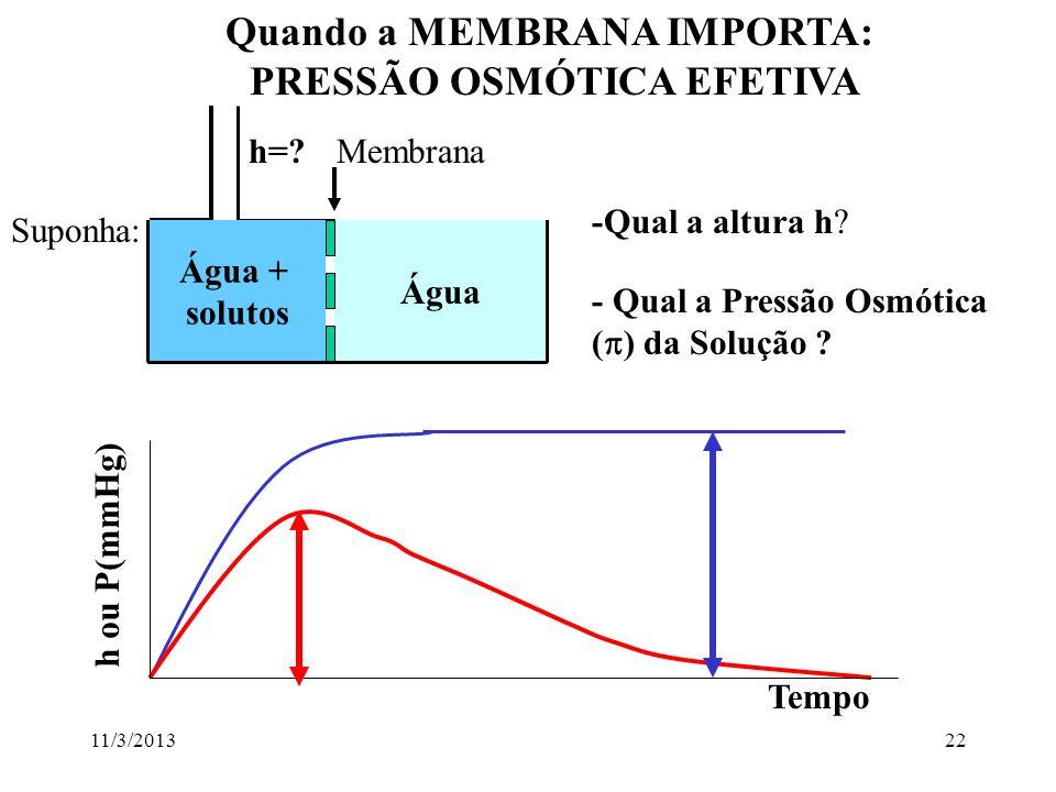 11/3/201321 Ponto de Congelamento da solução é muito empregado: lembrar: ponto de congelamento é inversamente proporcional a concentração da solução (