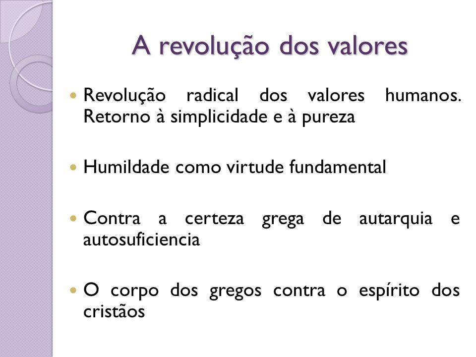 A revolução dos valores Revolução radical dos valores humanos. Retorno à simplicidade e à pureza Humildade como virtude fundamental Contra a certeza g