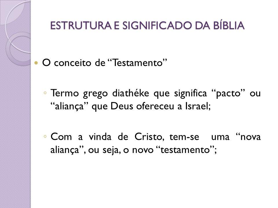 ESTRUTURA E SIGNIFICADO DA BÍBLIA O conceito de Testamento Termo grego diathéke que significa pacto ou aliança que Deus ofereceu a Israel; Com a vinda