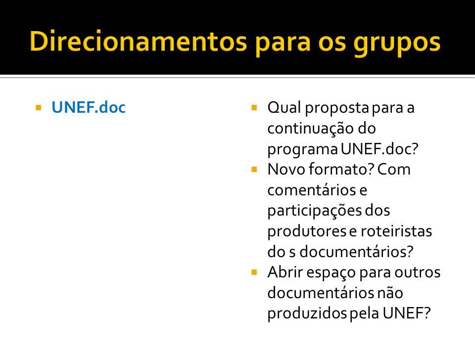 UNEF.doc Qual proposta para a continuação do programa UNEF.doc? Novo formato? Com comentários e participações dos produtores e roteiristas do s docume