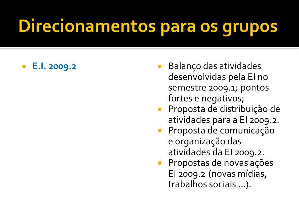 E.I. 2009.2 Balanço das atividades desenvolvidas pela EI no semestre 2009.1; pontos fortes e negativos; Proposta de distribuição de atividades para a