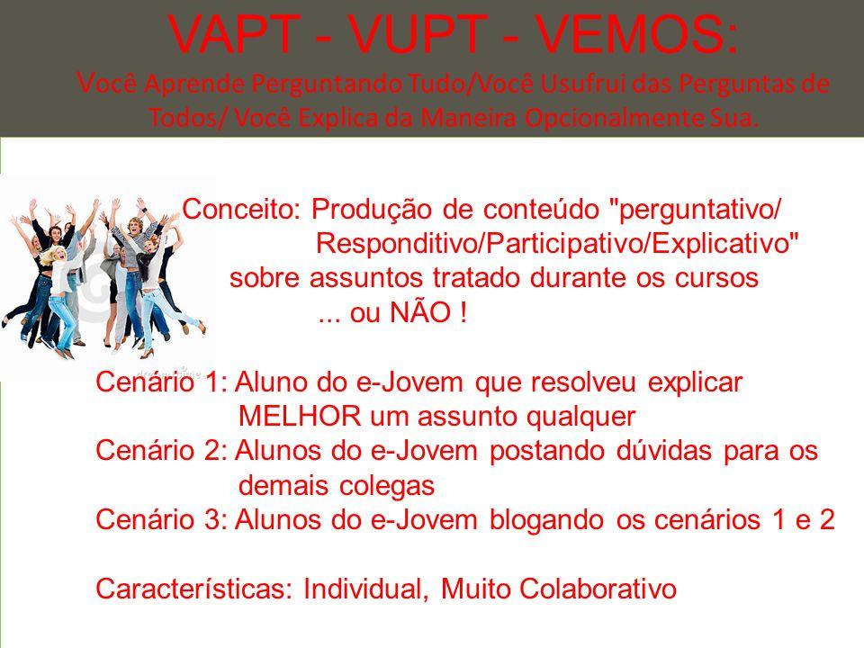 VAPT - VUPT - VEMOS: V ocê Aprende Perguntando Tudo/Você Usufrui das Perguntas de Todos/ Você Explica da Maneira Opcionalmente Sua.... - Conceito: Pro