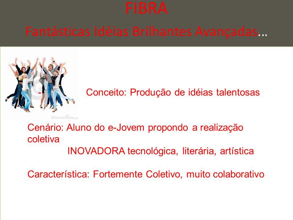 FIBRA Fantásticas Idéias Brilhantes Avançadas... - Conceito: Produção de idéias talentosas Cenário: Aluno do e-Jovem propondo a realização coletiva IN