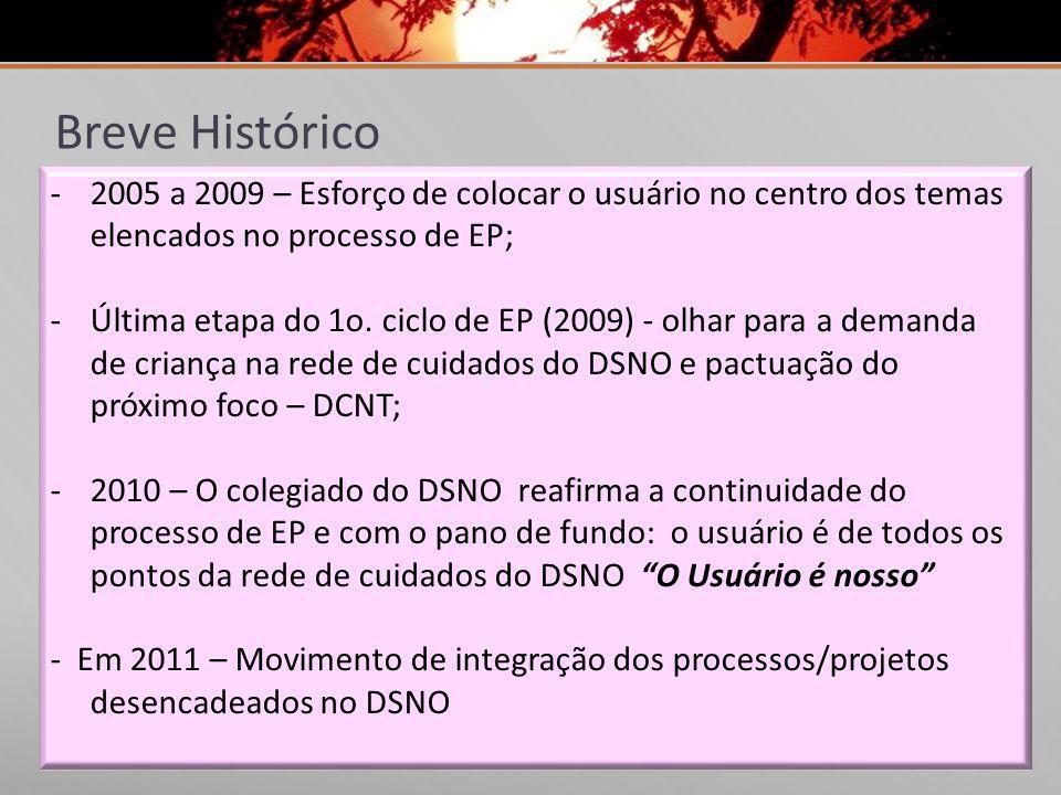 Breve Histórico -2005 a 2009 – Esforço de colocar o usuário no centro dos temas elencados no processo de EP; -Última etapa do 1o. ciclo de EP (2009) -