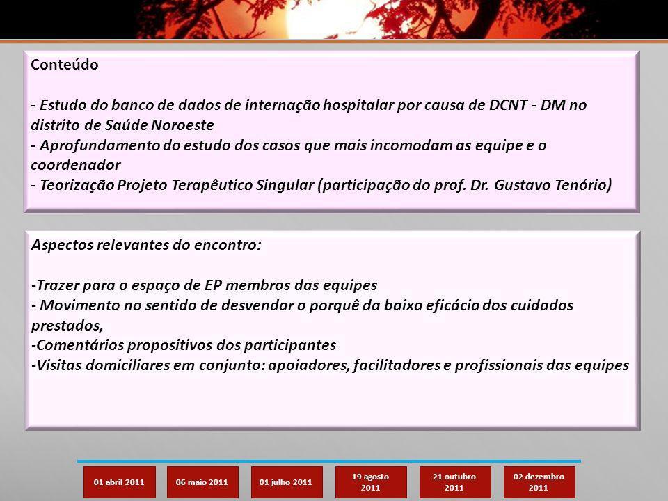 01 abril 201106 maio 201101 julho 2011 19 agosto 2011 21 outubro 2011 02 dezembro 2011 Conteúdo - Estudo do banco de dados de internação hospitalar po