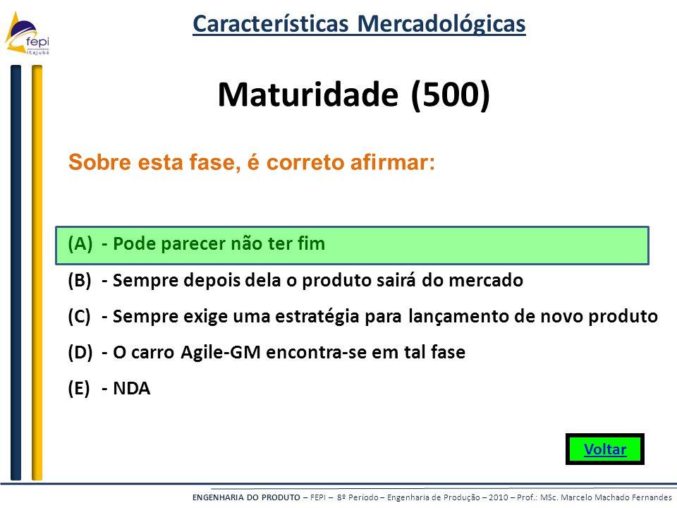 ENGENHARIA DO PRODUTO – FEPI – 8º Período – Engenharia de Produção – 2010 – Prof.: MSc. Marcelo Machado Fernandes Sobre esta fase, é correto afirmar: