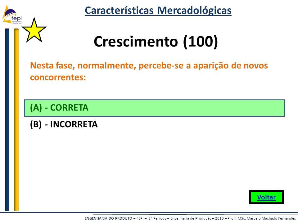 ENGENHARIA DO PRODUTO – FEPI – 8º Período – Engenharia de Produção – 2010 – Prof.: MSc. Marcelo Machado Fernandes Crescimento (100) Nesta fase, normal