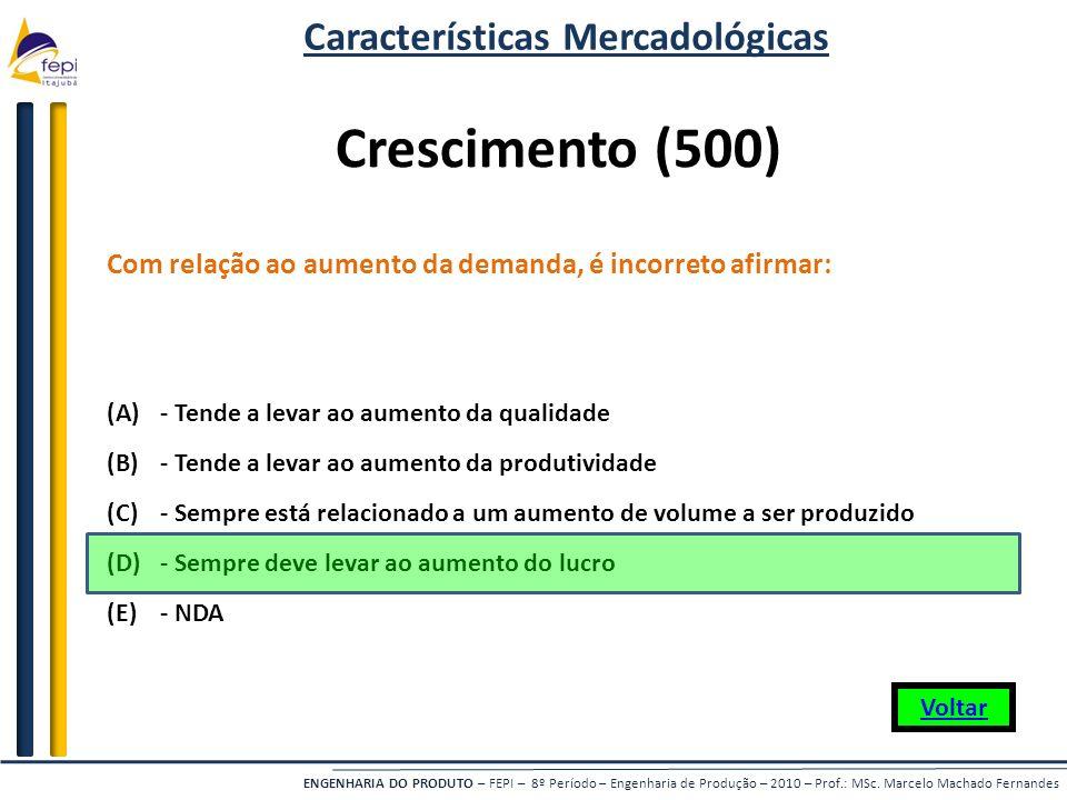 ENGENHARIA DO PRODUTO – FEPI – 8º Período – Engenharia de Produção – 2010 – Prof.: MSc. Marcelo Machado Fernandes Com relação ao aumento da demanda, é