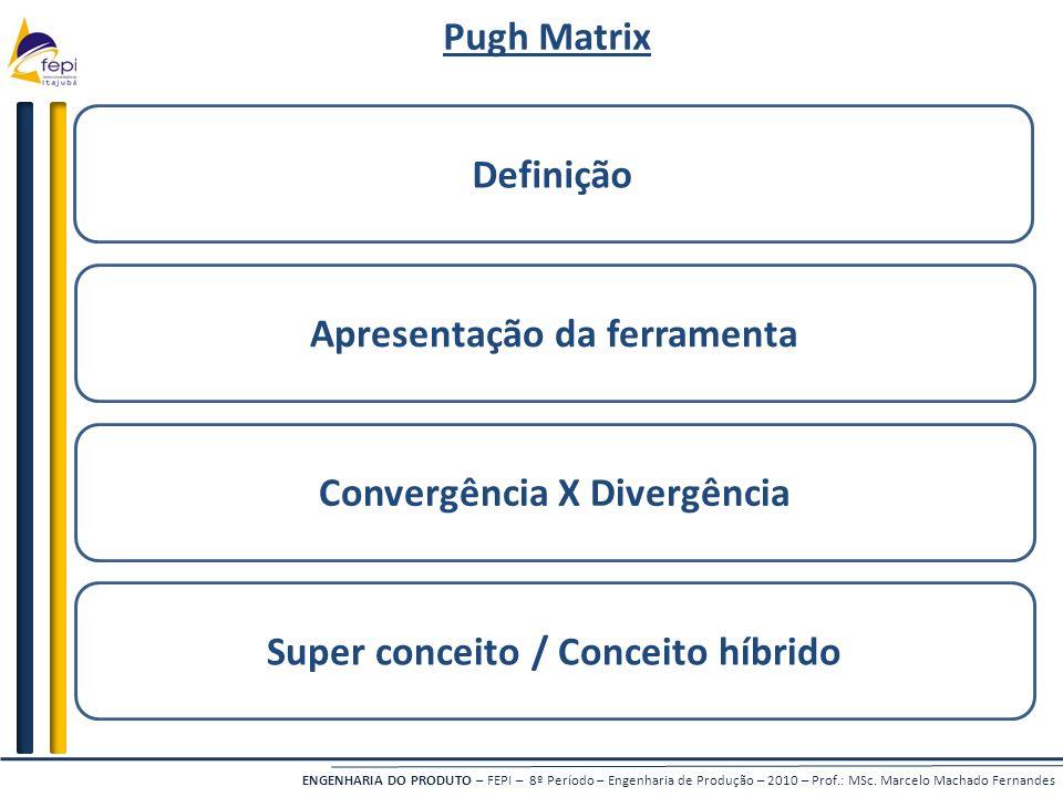 ENGENHARIA DO PRODUTO – FEPI – 8º Período – Engenharia de Produção – 2010 – Prof.: MSc. Marcelo Machado Fernandes Definição Convergência X Divergência