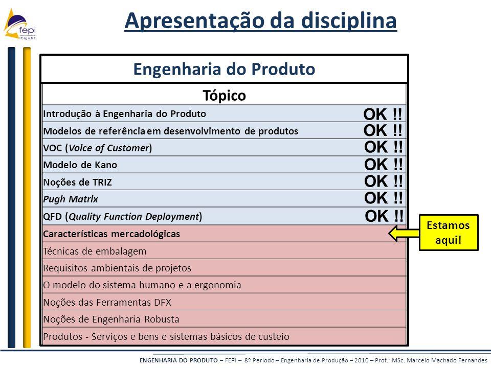 ENGENHARIA DO PRODUTO – FEPI – 8º Período – Engenharia de Produção – 2010 – Prof.: MSc. Marcelo Machado Fernandes Apresentação da disciplina Engenhari