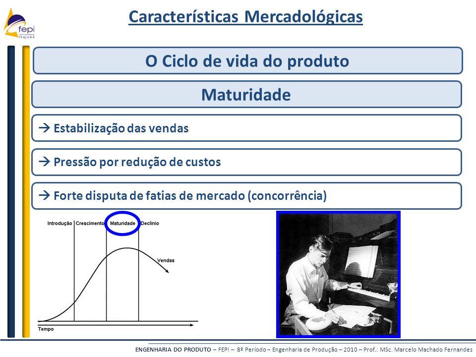 ENGENHARIA DO PRODUTO – FEPI – 8º Período – Engenharia de Produção – 2010 – Prof.: MSc. Marcelo Machado Fernandes Características Mercadológicas O Cic