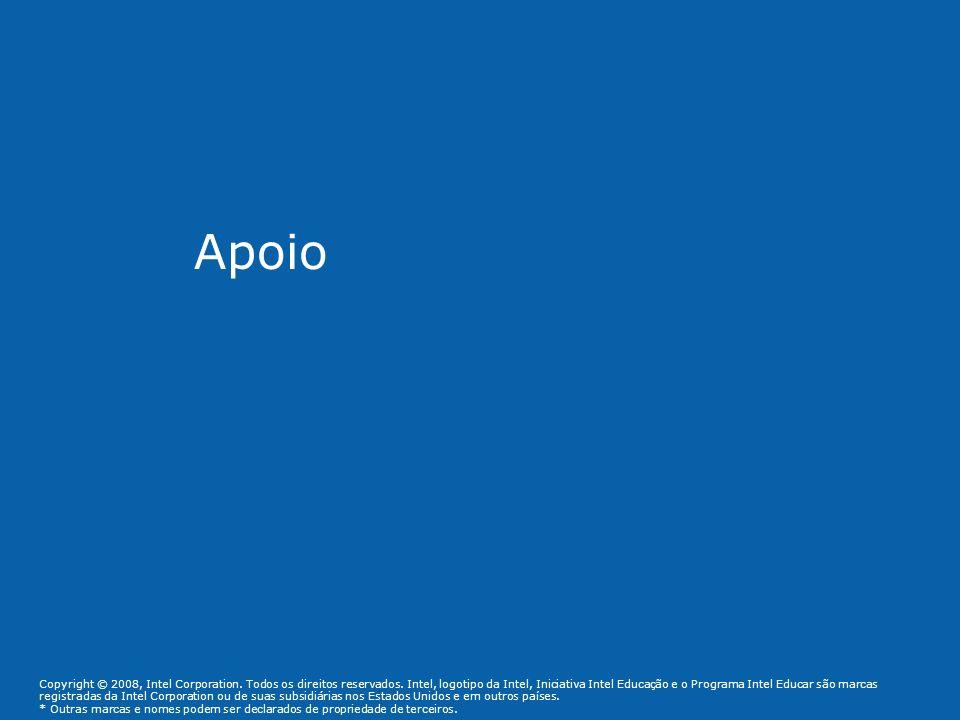Apoio Copyright © 2008, Intel Corporation. Todos os direitos reservados. Intel, logotipo da Intel, Iniciativa Intel Educação e o Programa Intel Educar
