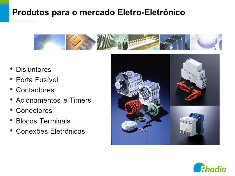 Produtos para o mercado Eletro-Eletrônico Disjuntores Porta Fusível Contactores Acionamentos e Timers Conectores Blocos Terminais Conexões Eletrônicas