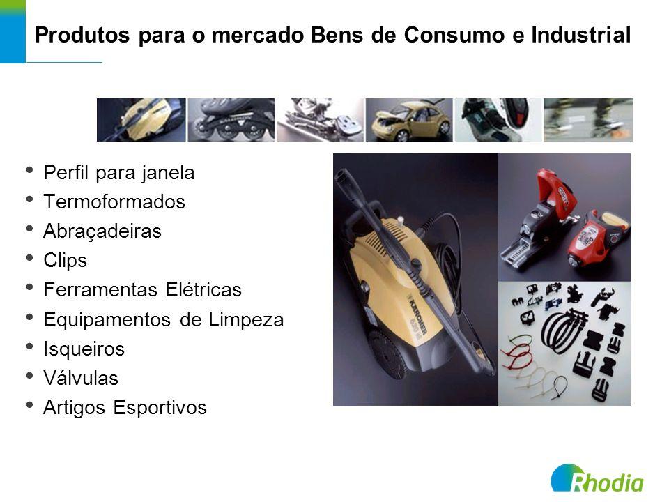 Produtos para o mercado Bens de Consumo e Industrial Perfil para janela Termoformados Abraçadeiras Clips Ferramentas Elétricas Equipamentos de Limpeza