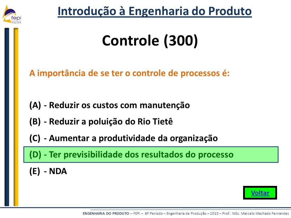 ENGENHARIA DO PRODUTO – FEPI – 8º Período – Engenharia de Produção – 2010 – Prof.: MSc. Marcelo Machado Fernandes Controle (300) A importância de se t