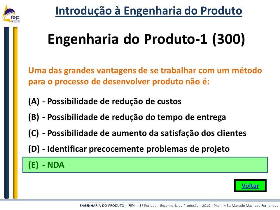 ENGENHARIA DO PRODUTO – FEPI – 8º Período – Engenharia de Produção – 2010 – Prof.: MSc. Marcelo Machado Fernandes Uma das grandes vantagens de se trab