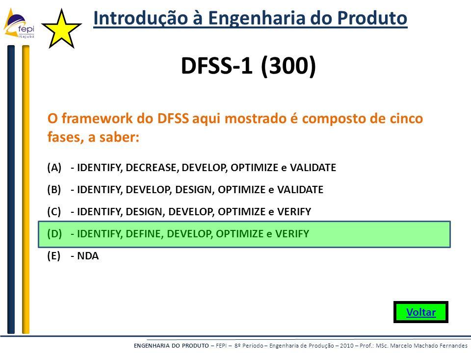 ENGENHARIA DO PRODUTO – FEPI – 8º Período – Engenharia de Produção – 2010 – Prof.: MSc. Marcelo Machado Fernandes O framework do DFSS aqui mostrado é