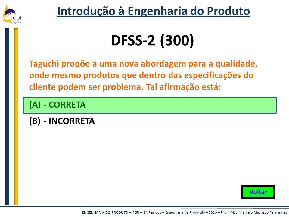 ENGENHARIA DO PRODUTO – FEPI – 8º Período – Engenharia de Produção – 2010 – Prof.: MSc. Marcelo Machado Fernandes Taguchi propõe a uma nova abordagem