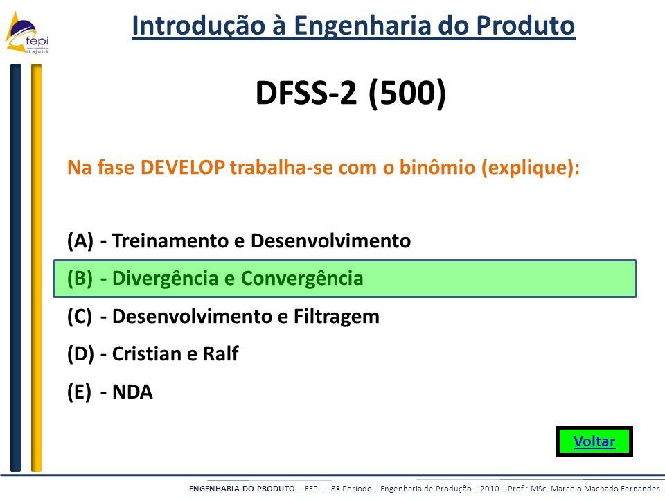 ENGENHARIA DO PRODUTO – FEPI – 8º Período – Engenharia de Produção – 2010 – Prof.: MSc. Marcelo Machado Fernandes Na fase DEVELOP trabalha-se com o bi