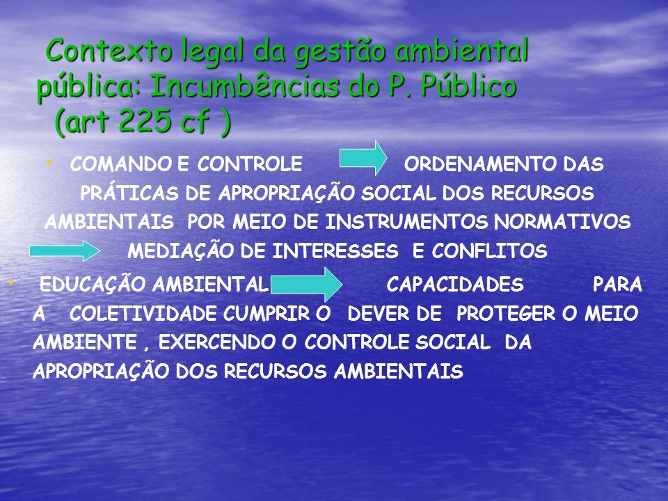 Contexto legal da gestão ambiental pública: Incumbências do P. Público (art 225 cf ) Contexto legal da gestão ambiental pública: Incumbências do P. Pú