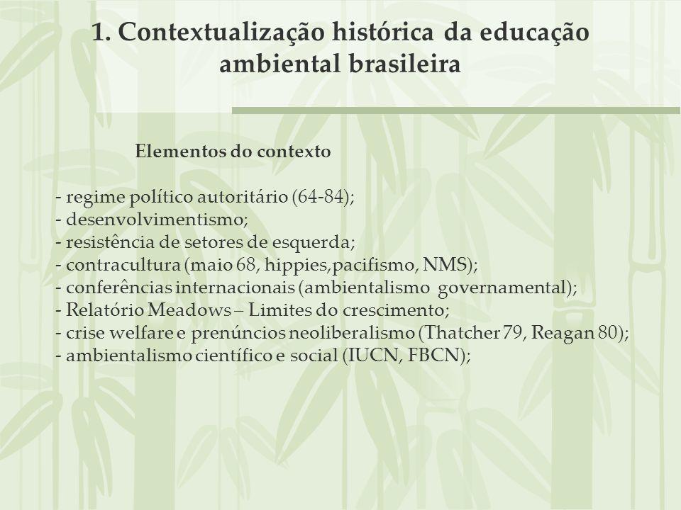 1. Contextualização histórica da educação ambiental brasileira Elementos do contexto - regime político autoritário (64-84); - desenvolvimentismo; - re