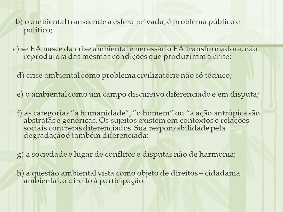 b) o ambiental transcende a esfera privada, é problema público e político; c) se EA nasce da crise ambiental é necessário EA transformadora, não repro
