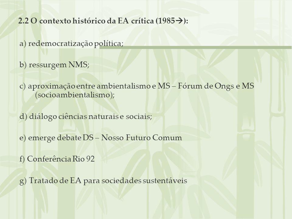2.2 O contexto histórico da EA crítica (1985 ): a) redemocratização política; b) ressurgem NMS; c) aproximação entre ambientalismo e MS – Fórum de Ong