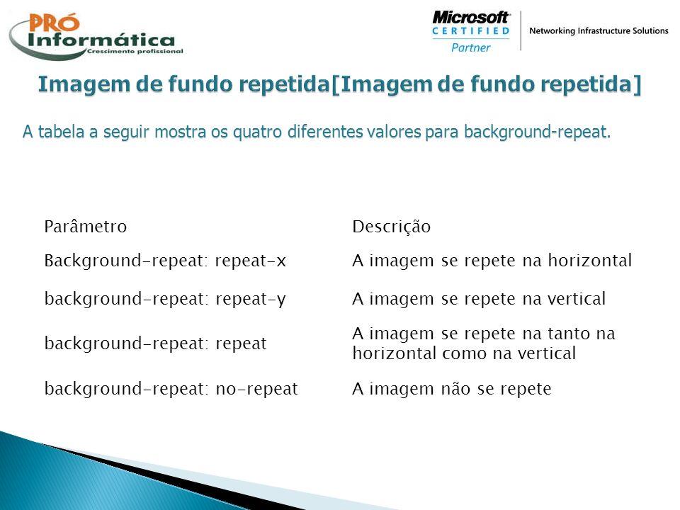 A tabela a seguir mostra os quatro diferentes valores para background-repeat. ParâmetroDescrição Background-repeat: repeat-xA imagem se repete na hori