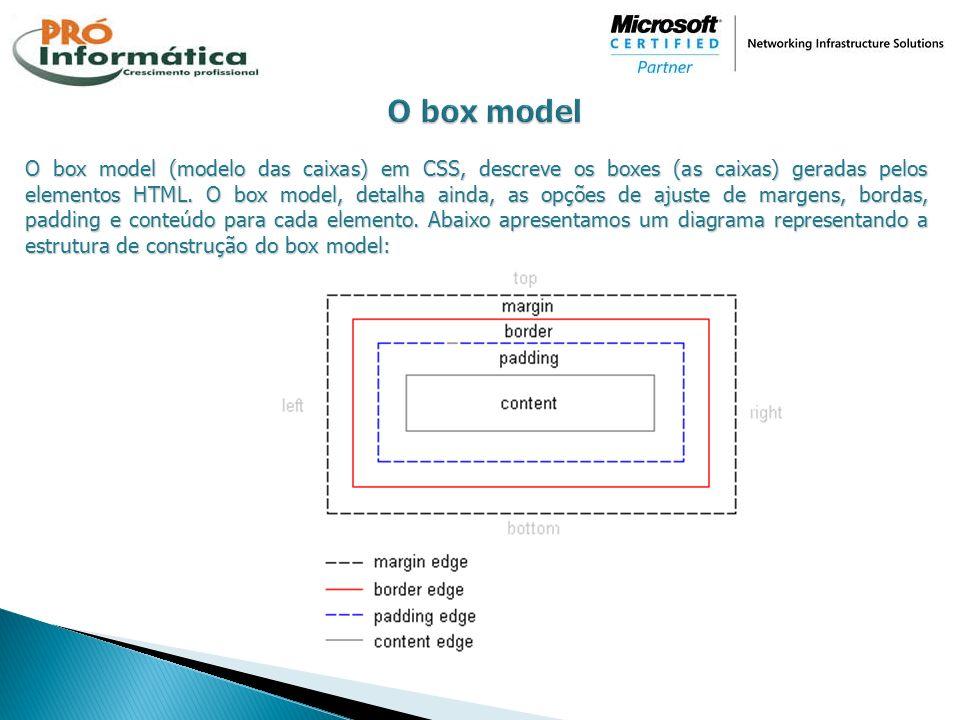 O box model (modelo das caixas) em CSS, descreve os boxes (as caixas) geradas pelos elementos HTML. O box model, detalha ainda, as opções de ajuste de