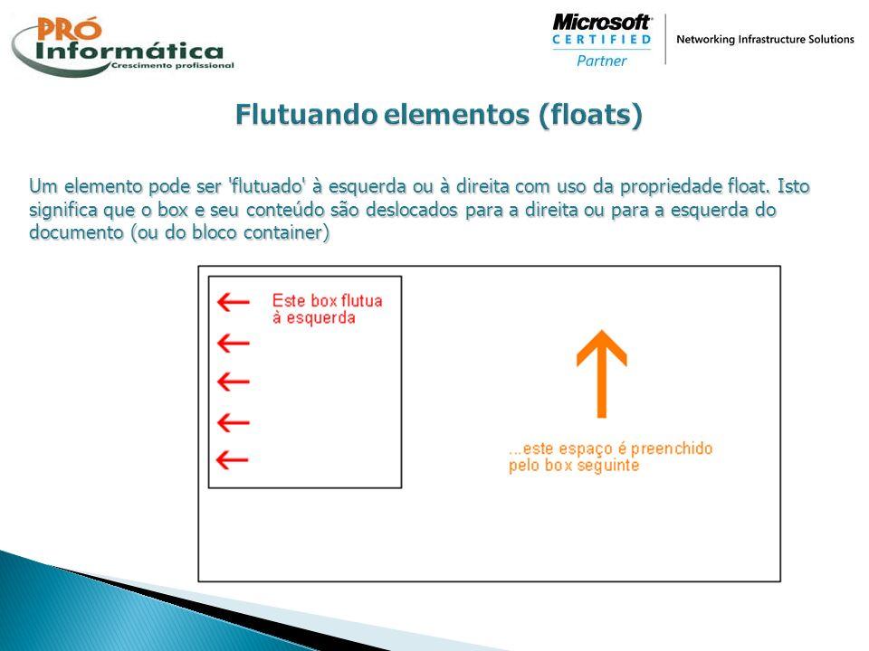 Um elemento pode ser 'flutuado' à esquerda ou à direita com uso da propriedade float. Isto significa que o box e seu conteúdo são deslocados para a di