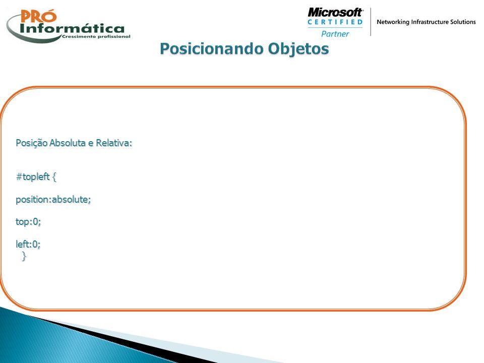 Posição Absoluta e Relativa: #topleft { position:absolute;top:0;left:0; }