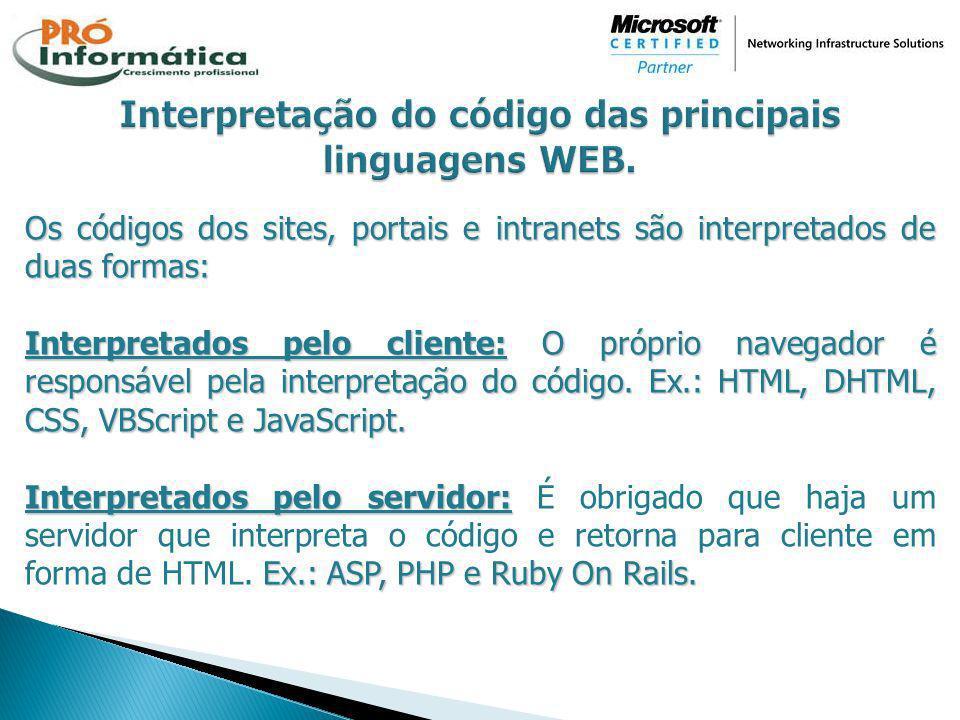 Os códigos dos sites, portais e intranets são interpretados de duas formas: Interpretados pelo cliente:O próprio navegador é responsável pela interpre