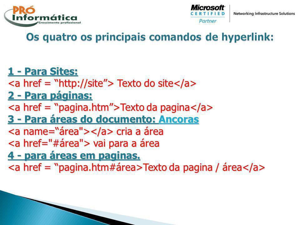 1 - Para Sites: Texto do site Texto do site 2 - Para páginas: Texto da pagina Texto da pagina 3 - Para áreas do documento: Ancoras cria a área cria a